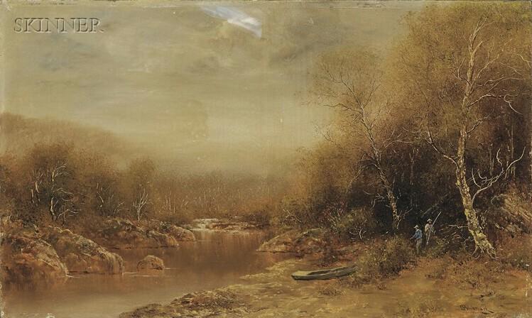 Ralph Albert Blakelock (American, 1847-1919)      Hudson River-style Landscape