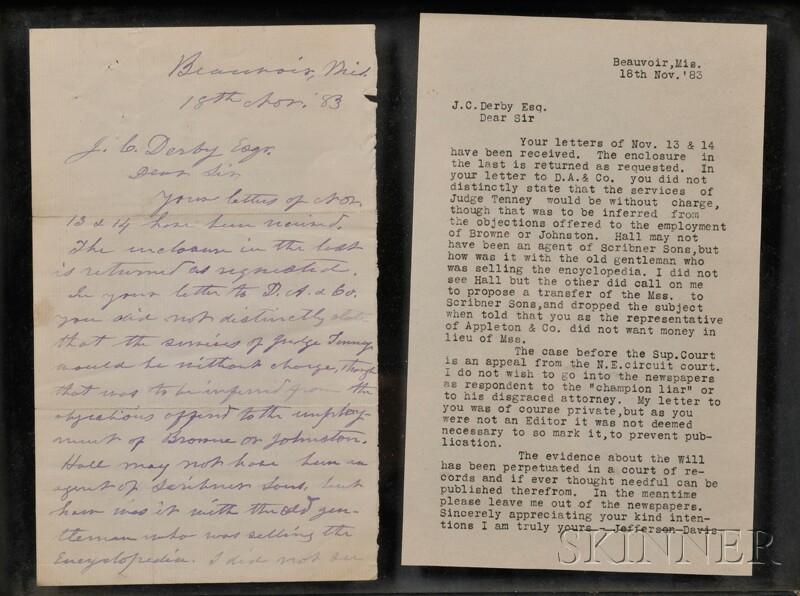 Davis, Jefferson (1808-1889) Autograph Letter Signed