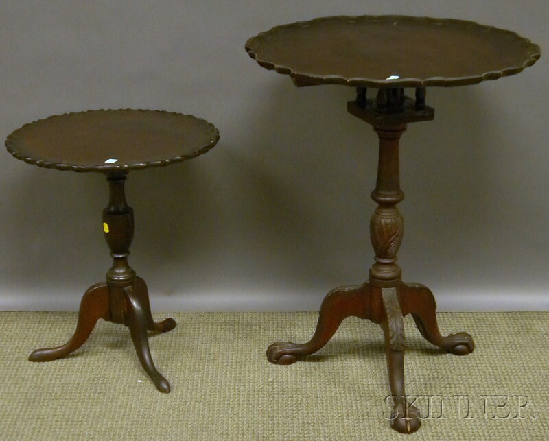 Two Reproduction Carved Mahogany Piecrust Tilt-top Candlestands