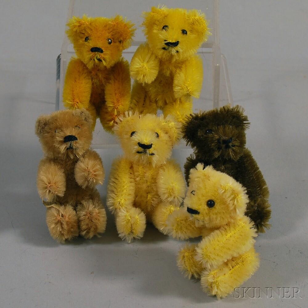 Six Miniature Schuco Mohair Articulated Teddy Bears