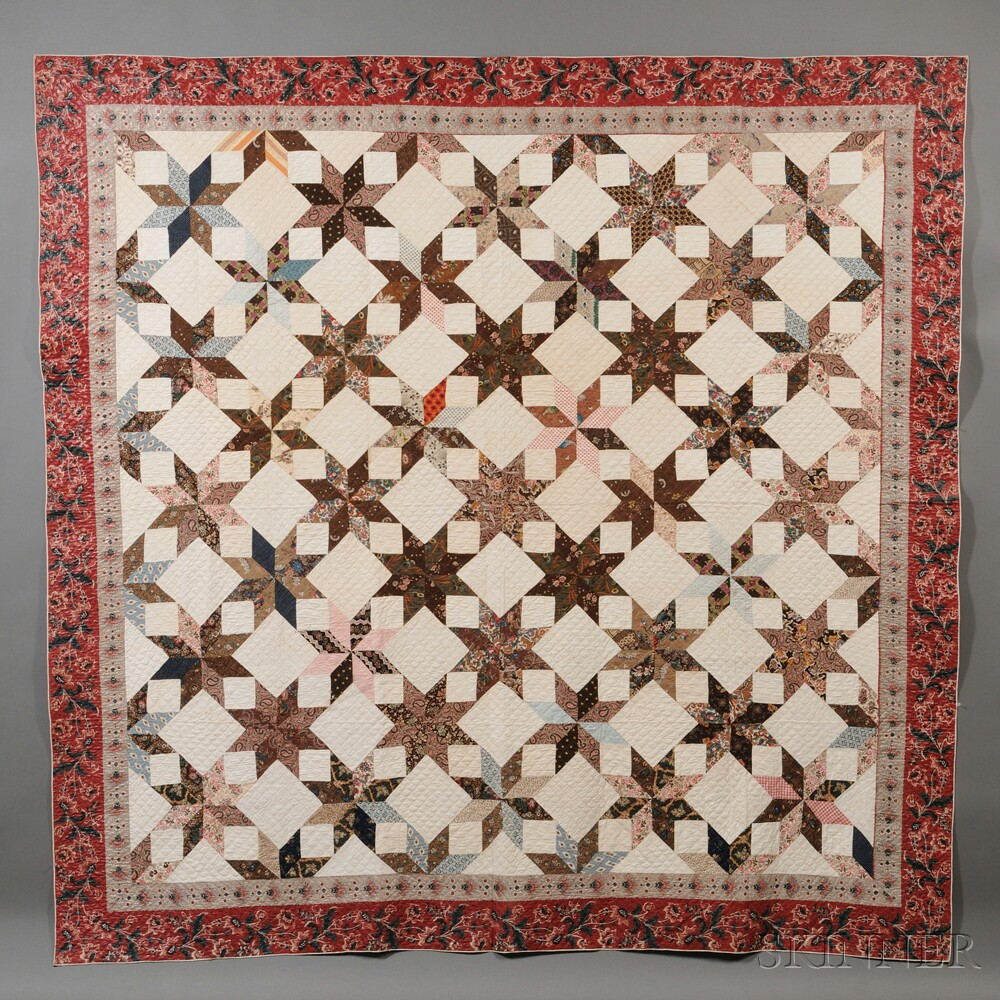 Pieced Chintz and Cotton Fabric Geometric Star Patterned Quilt ... : patterned quilt - Adamdwight.com