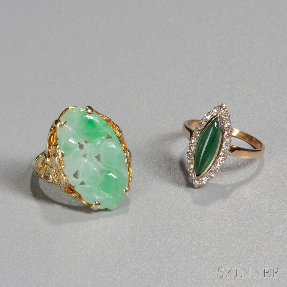Two Jade 14kt Gold Rings