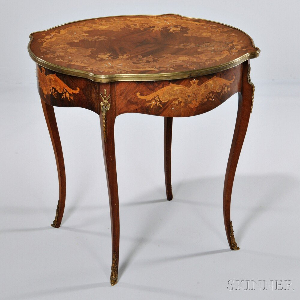 Louis XVI-style Marquetry and Gilt-bronze Table