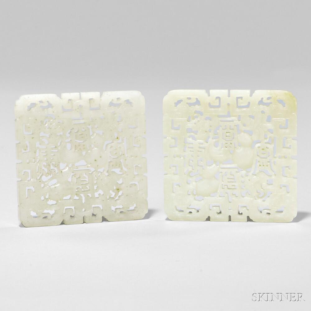Pair of Nephrite Jade Openwork Plaques