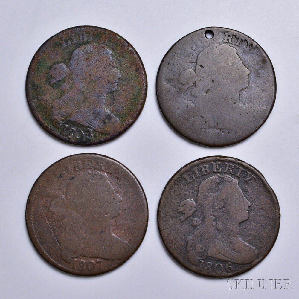 Four Draped Bust Large Cents