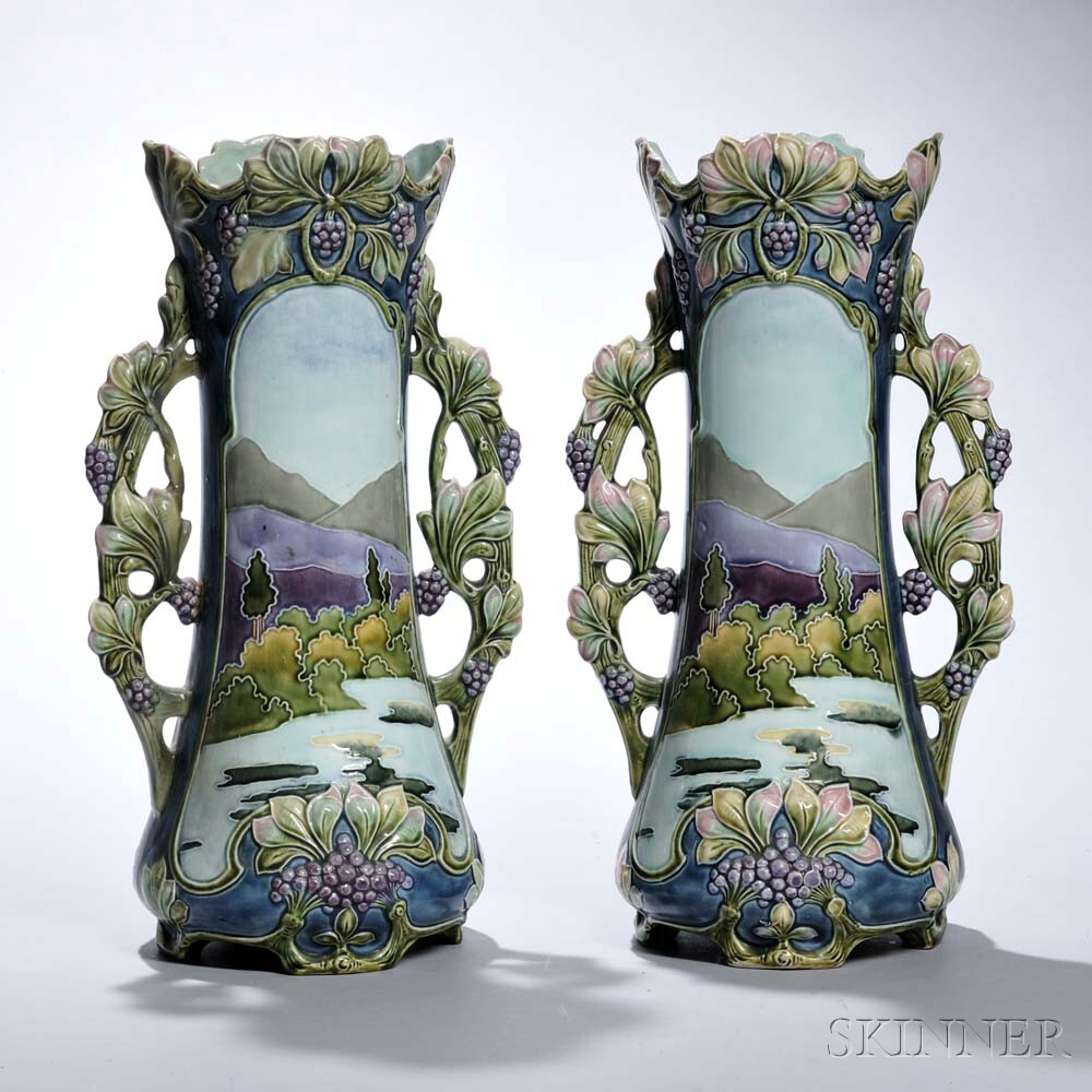 Pair of Continental Art Nouveau-style Majolica Vases