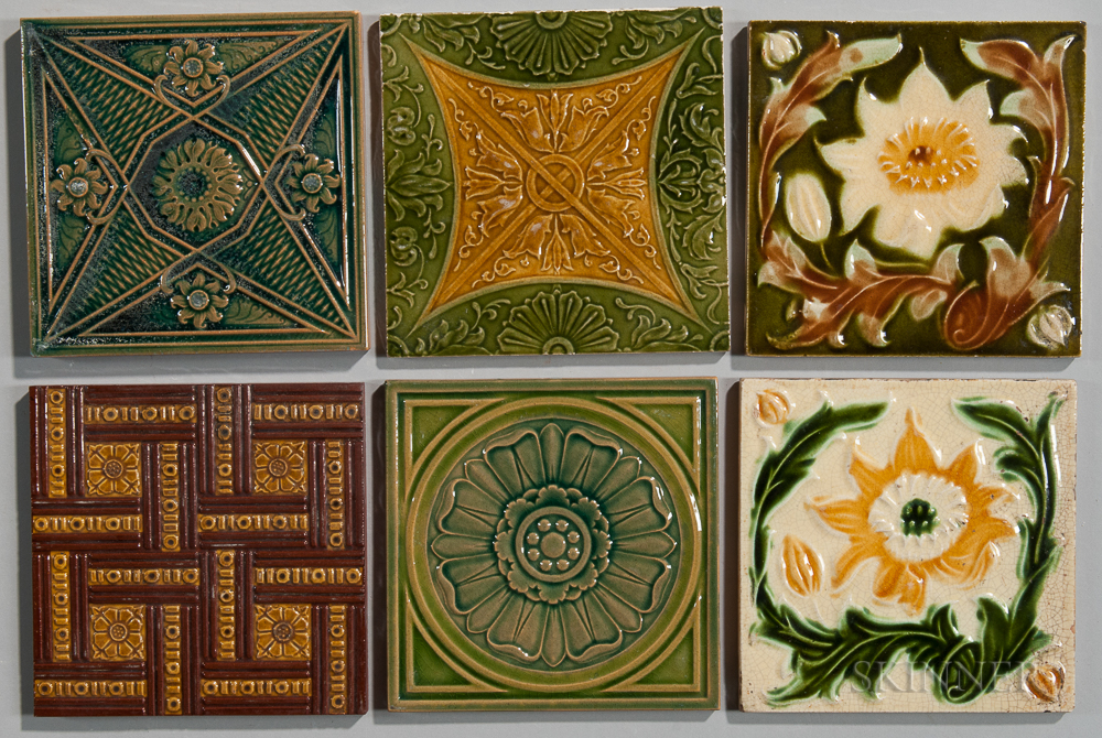 Six Art Pottery Tiles Including Campbell Tile Co.