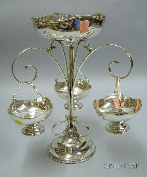 British Victorian Electroplated Epergne with Three Baskets