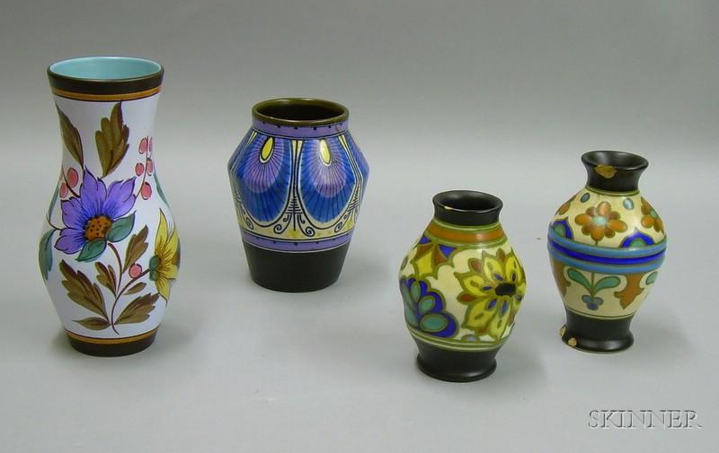 Four Gouda Pottery Vases