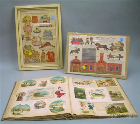 Late 19th/Early 20th Century Scrapbook, a Framed Drayton Dolly Paper Doll Page, and a Julia Greene Tiny in T...