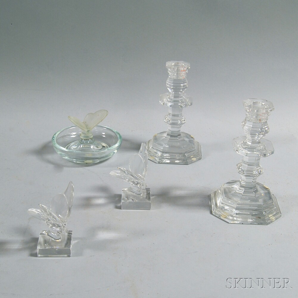 Five Pieces of Baccarat and Serres Colorless Crystal