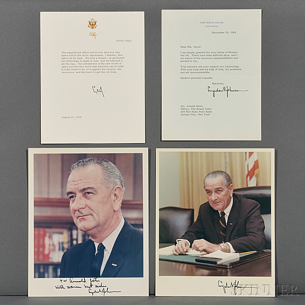 Johnson, Lyndon B. (1908-1973) Two Signed Color Photographs, Typed Letter Signed, and Printed Statement Signed.