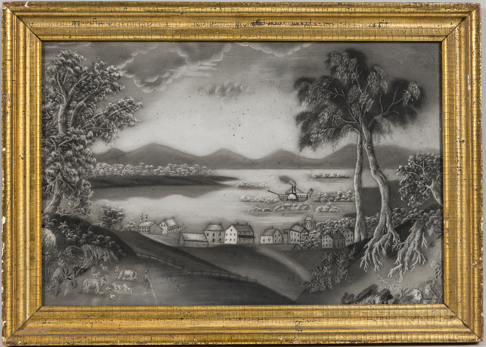 American School, Mid-19th Century      Town Scene with Paddlewheel Steamer and Mountains