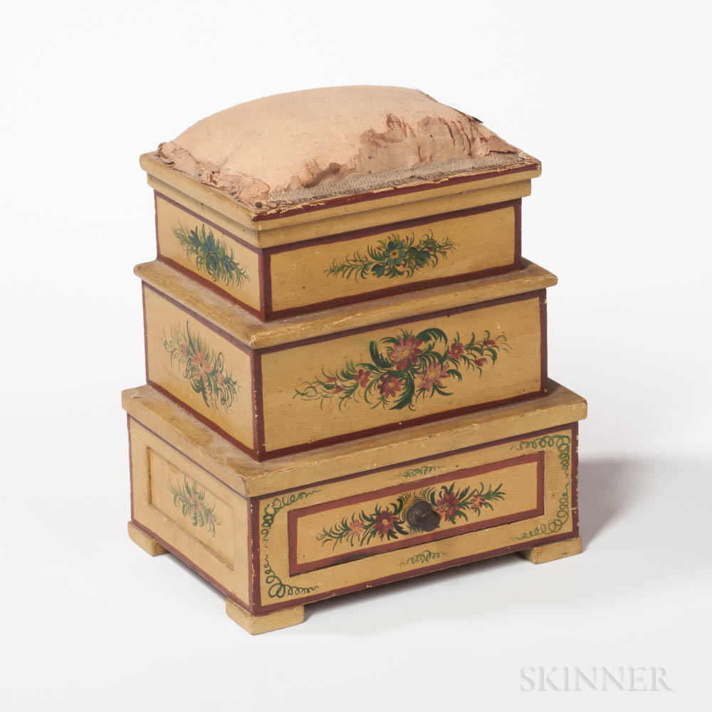 Three-tier Paint-decorated Sewing Box