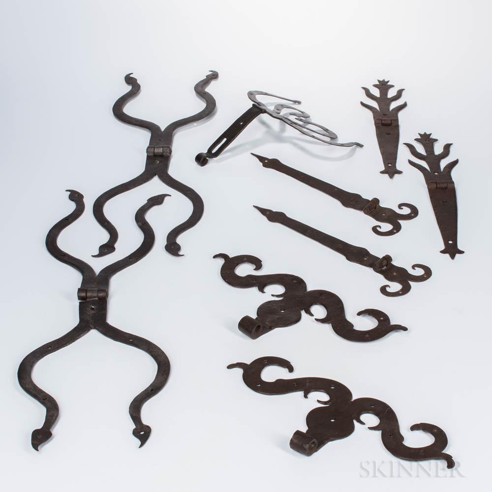Large Group of Wrought Iron Hardware