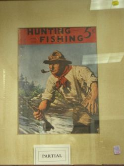 Two Framed Prints of 1930s Hunting and Fishing
