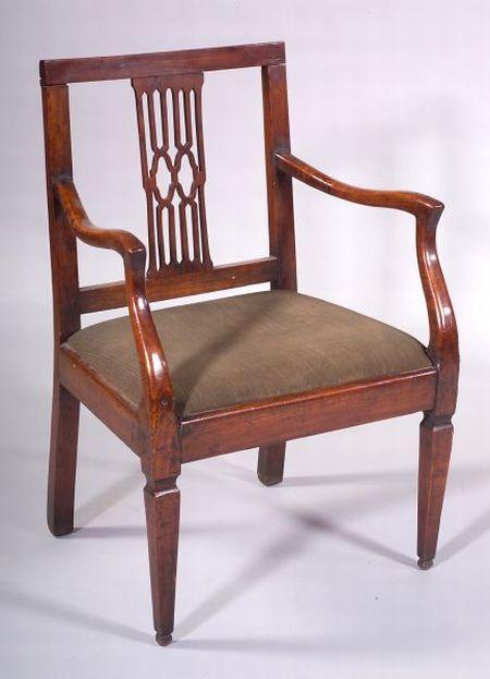 Italian Neoclassical Fruitwood Open Armchair