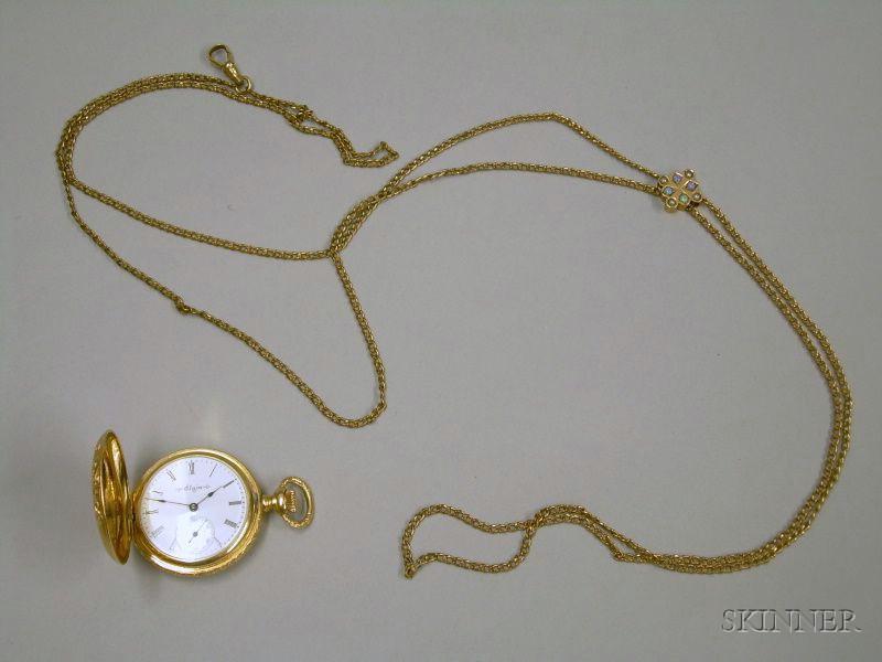 Ornately Engraved 14kt Gold Ladies Elgin Hunter Case Savonnette Pocket Watch