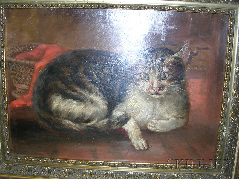 American School, late 19th Century,      Portrait of Reclining Tabby Cat.