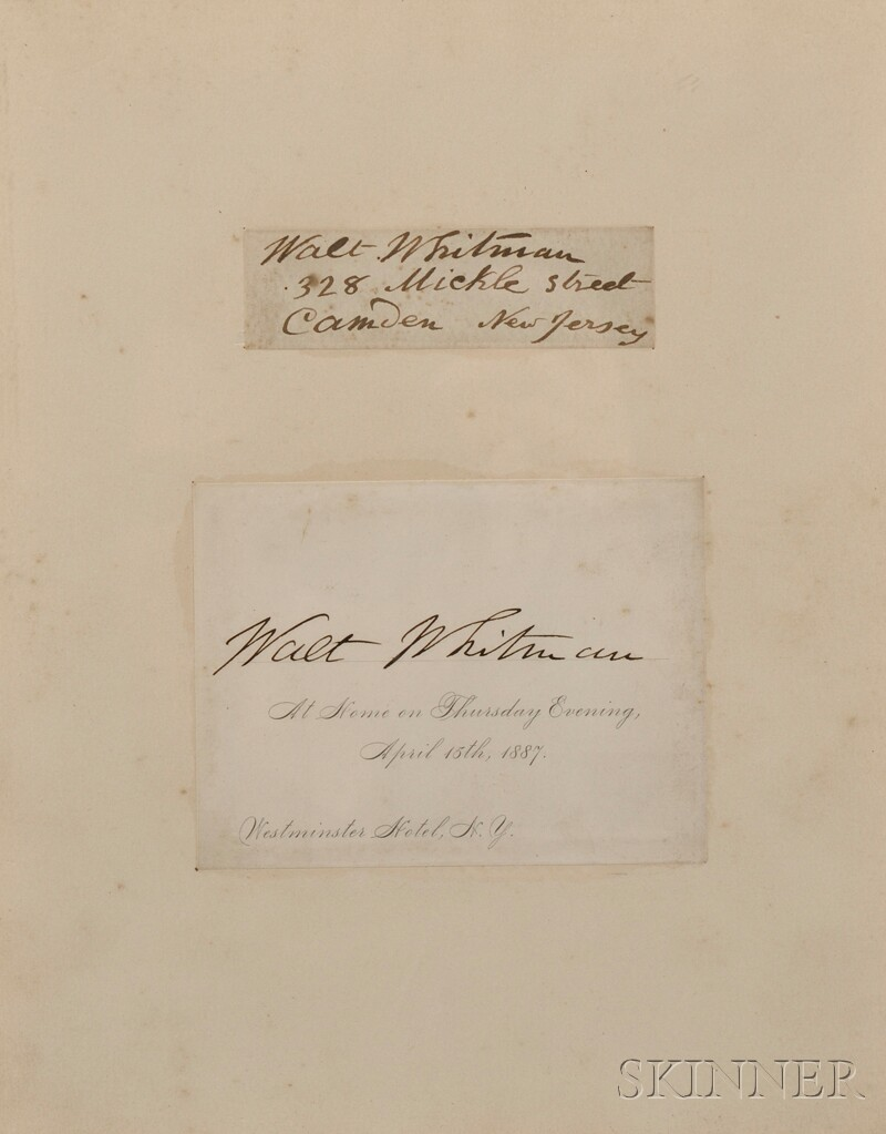 Whitman, Walt (1819-1892) Two Clipped Signatures.