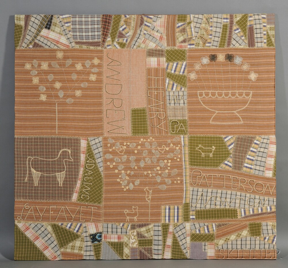 Pieced Cotton Flannel Family Record Quilt Top with Folk-stitched Embroidery