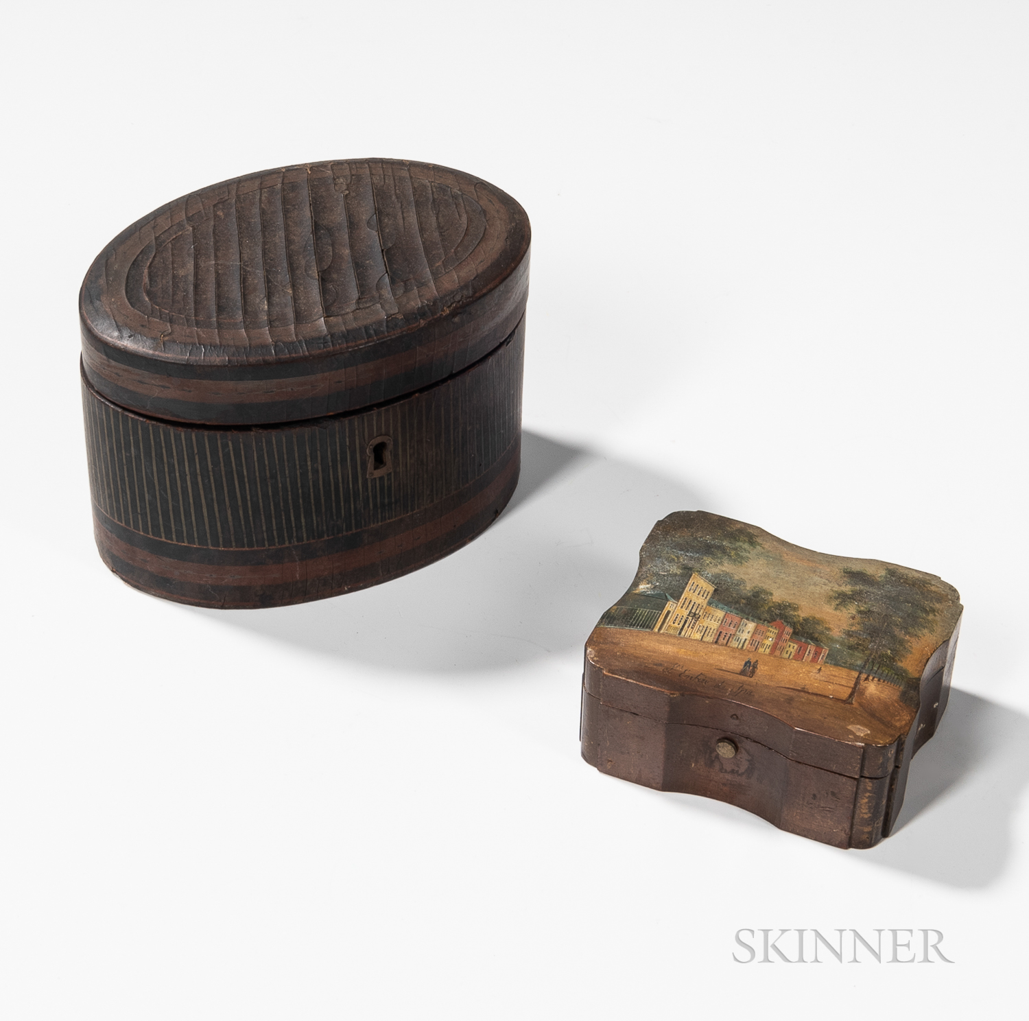 Small Carved and Painted Box and an Oval Lacquerware Tea Caddy