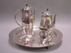 Five-Piece Rogers Art Moderne Silver Plated Tea and Coffee Service and Tray.