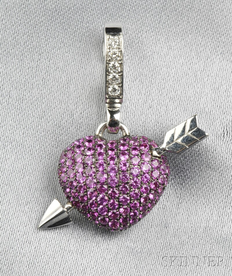 """18kt White Gold, Pink Sapphire, and Diamond """"'Art"""" Charm, Theo Fennell"""