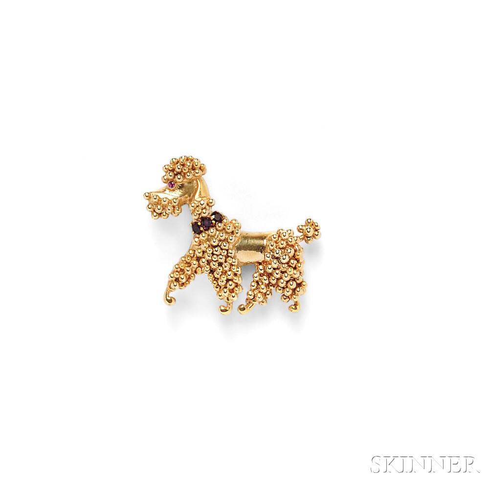 18kt Gold Gem-set Poodle Brooch, Van Cleef & Arpels