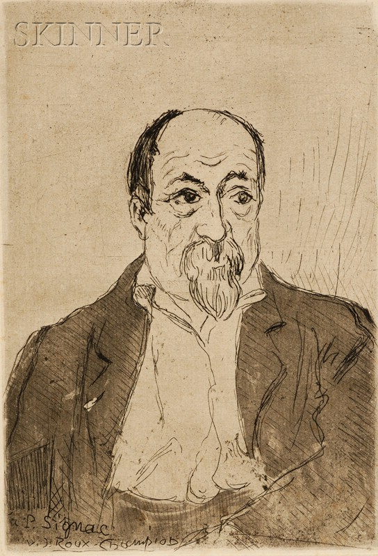 Lot of Two Images Relating to Paul Signac:      Joseph Victor Roux Champion (French, 1871-1953),   Portrait of Paul Signac