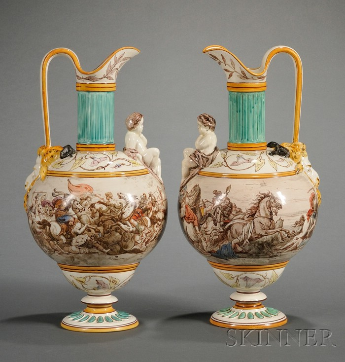 Pair of Wedgwood Lessore Decorated Queen's Ware Ewers