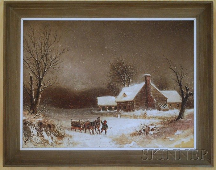 19th Century American School Oil on Canvas A Snow Storm