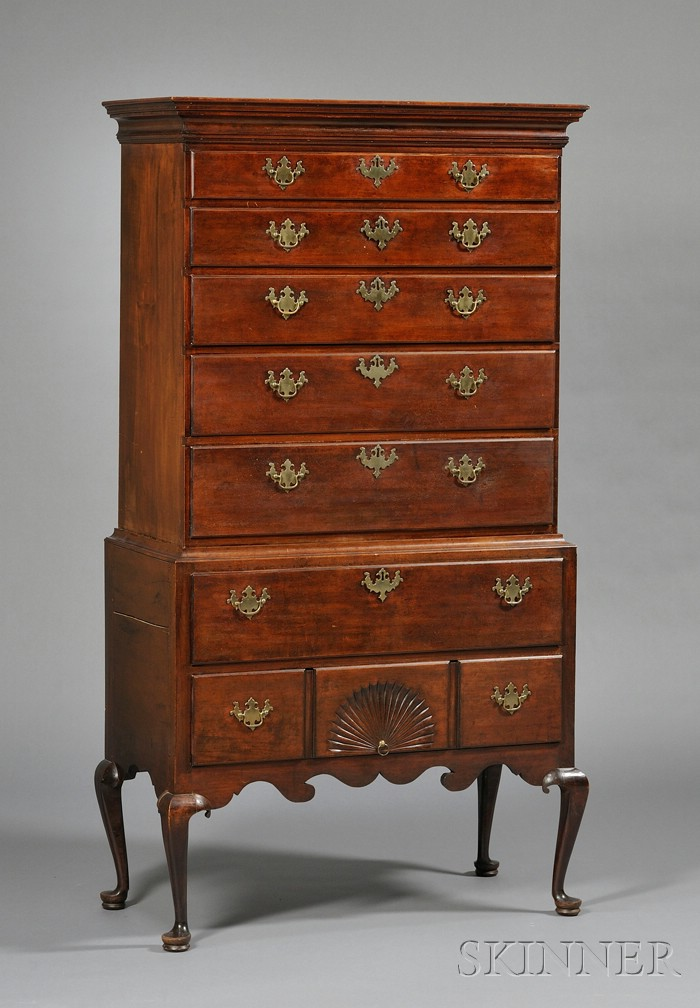 Queen Anne Maple Fan-carved High Chest of Drawers