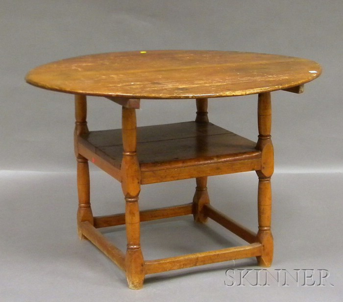 Oval Pine and Maple Chair Table