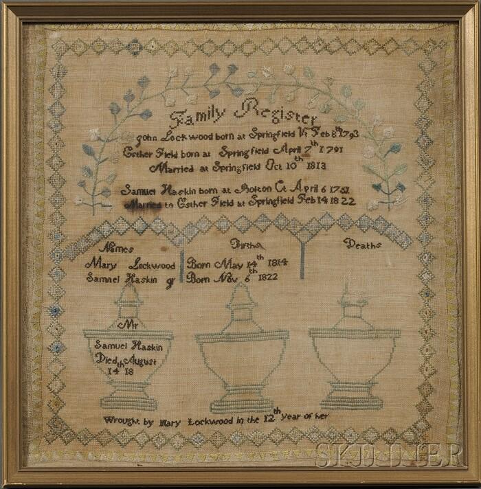 Springfield, Vermont, Needlework Family Record