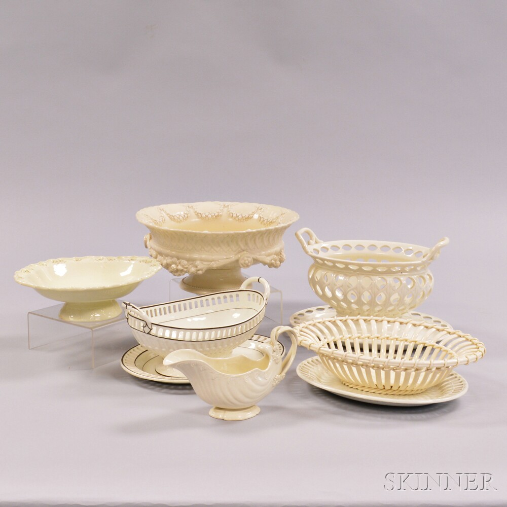 Nine Wedgwood Queen's Ware Serving Items