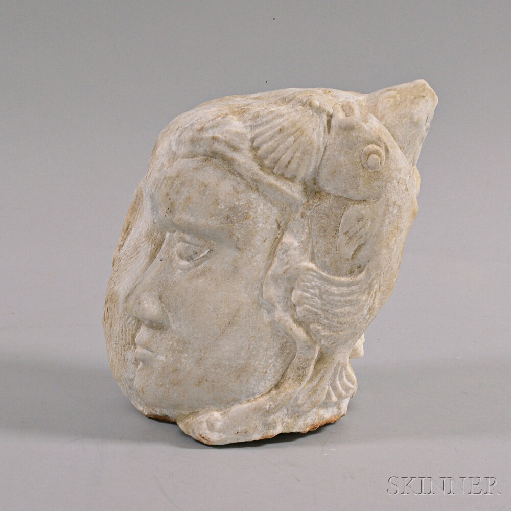 Carved Marble Head of a Woman with Fish
