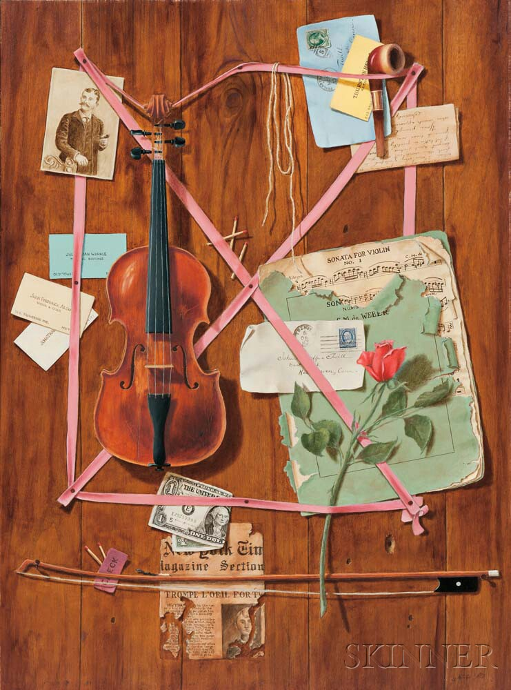 Gayle Blair Tate (American, b. 1944)      Trompe l'Oeil with Violin