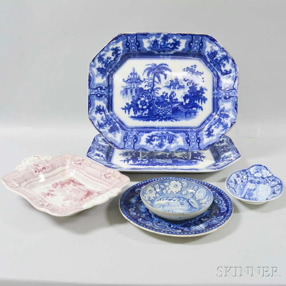 Six Staffordshire Transfer-decorated Ceramic Items