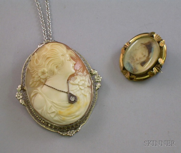 Edwardian 14kt Gold Shell Carved Cameo Pendant/Brooch and a Small Painted Ivory   Portrait Pin