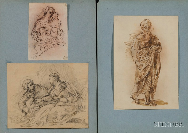 Lot of Fourteen Old Master Style Drawings:      Various Subjects and Styles, Primarily Italianate Holy Family Subjects.
