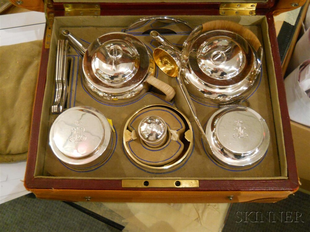 Russian .875 Silver Traveling Tea Service