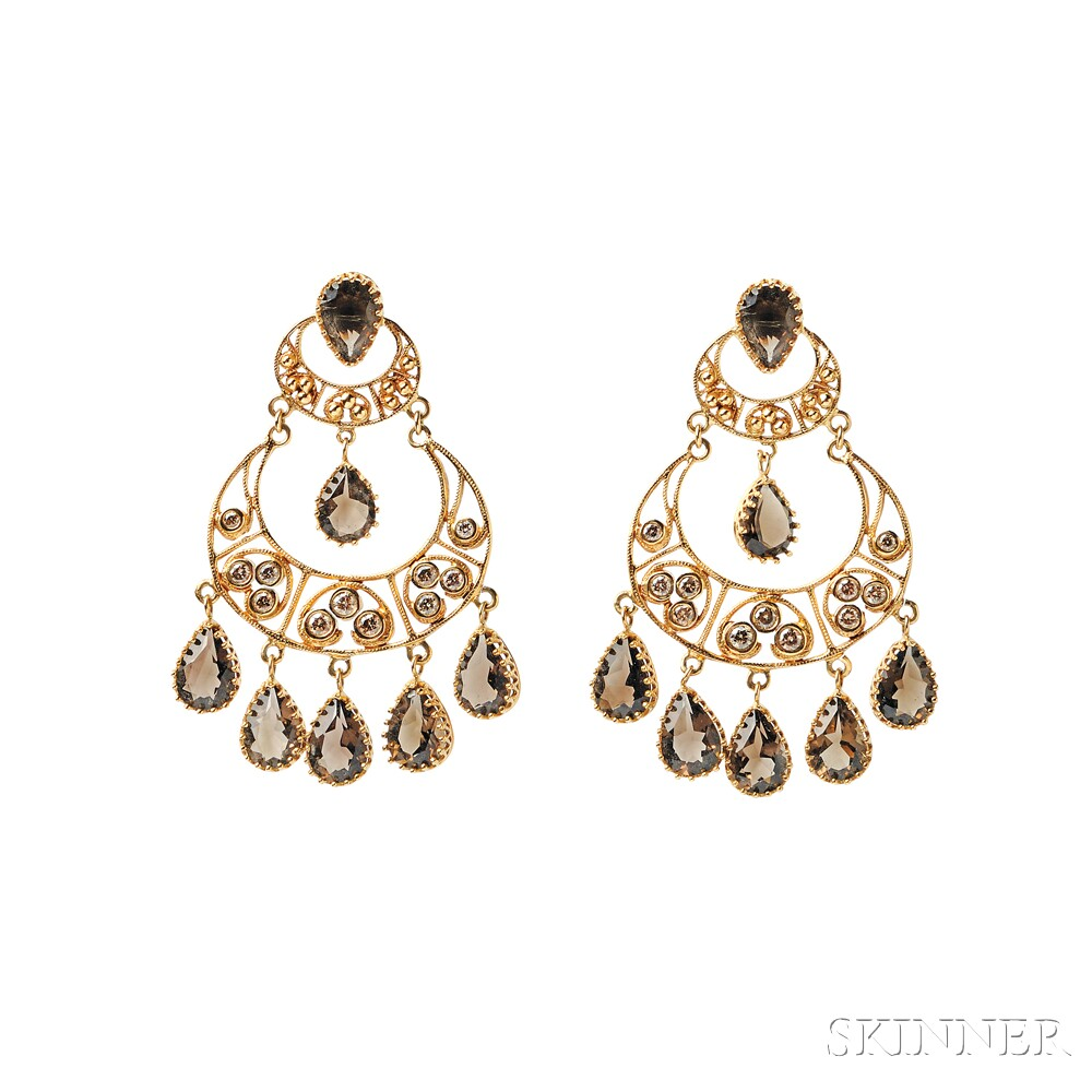 18kt Gold, Citrine, and Colored Diamond Earrings