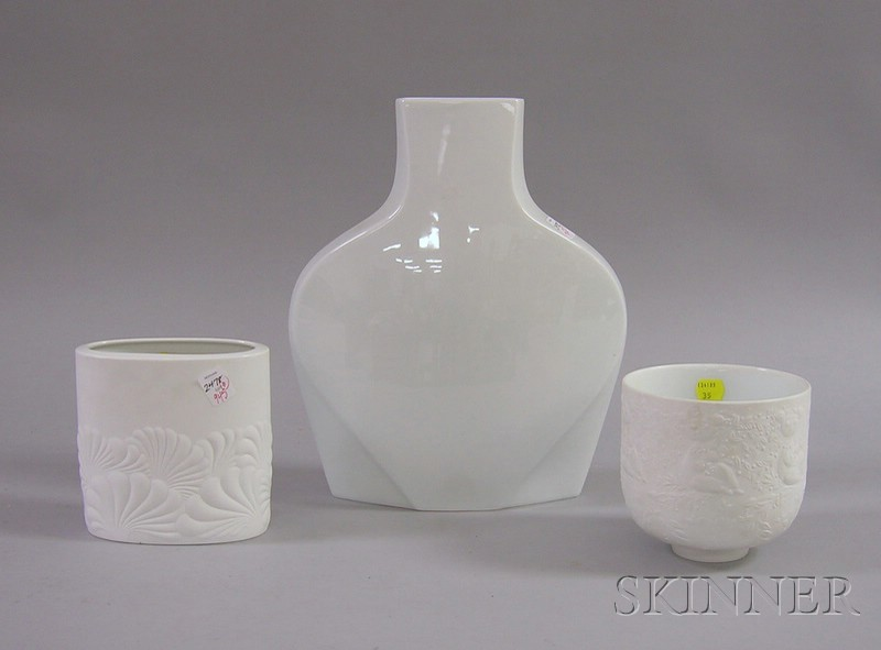 Rosenthal Studio Line Porcelain Footed Bowl and Two Vases