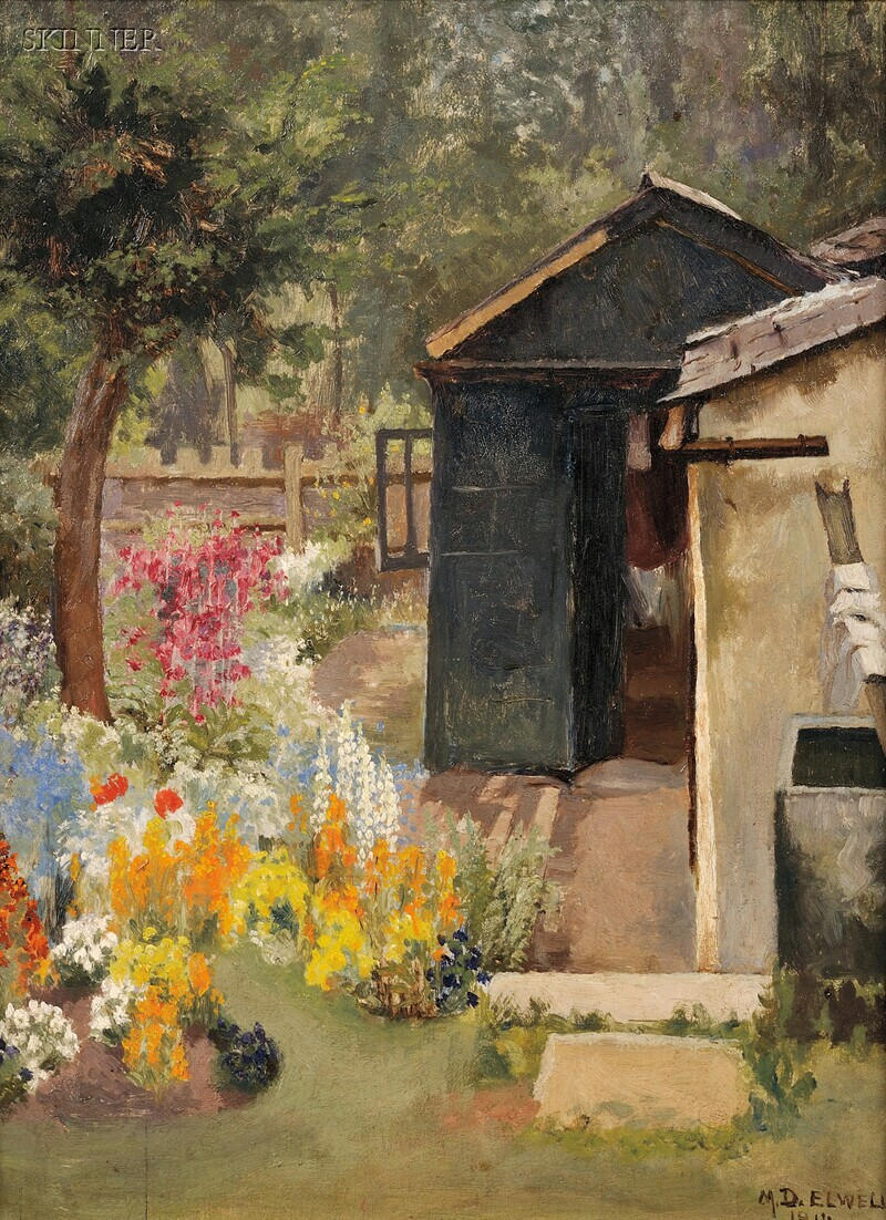 Mary Dawson Elwell (British, 1874-1952)      View of a Summer Garden with Shed