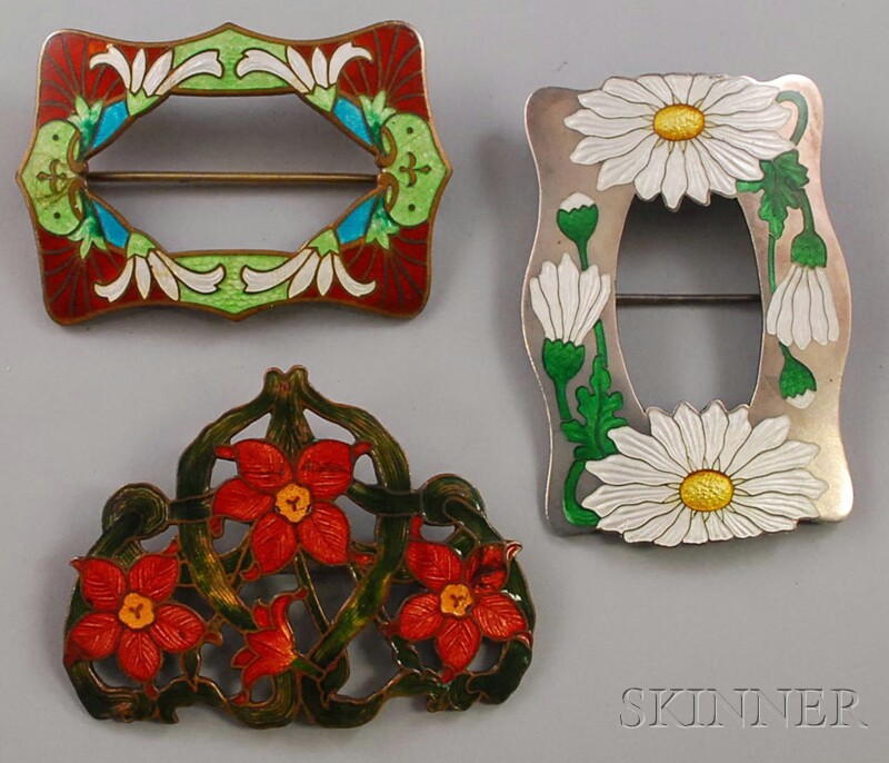 Three Large Enameled Floral Brooches
