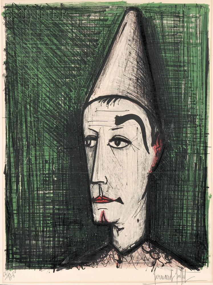 Bernard Buffet (French, 1928-1999) Le clown sur fond vert 2635B, 42 |  Skinner Auctioneers