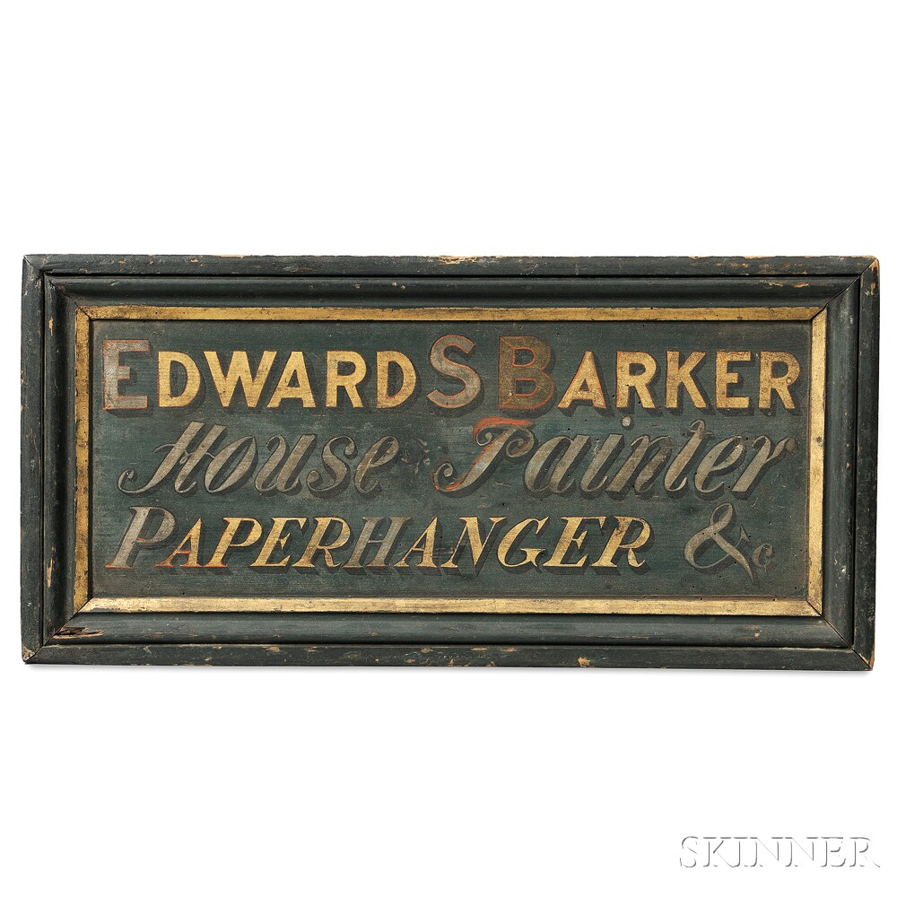 """Painted, Silvered, and Gilt """"EDWARD S BARKER House Painter PAPERHANGER &c"""" Trade Sign"""