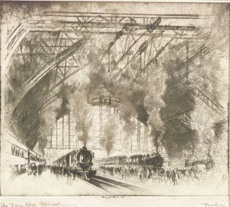 Joseph Pennell (American, 1860-1926)  Trains That Come and Trains That Go