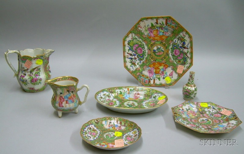 Seven Pieces of Chinese Export Porcelain Rose Canton and Rose Medallion Tableware.
